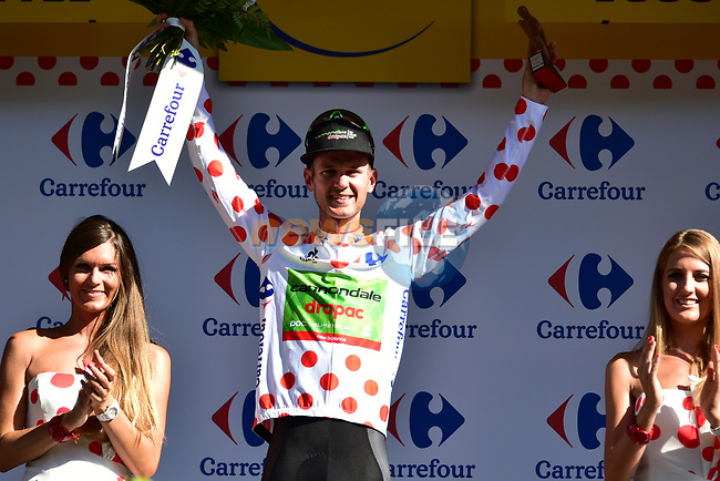 Nathan Brown (USA) Cannondale Drapac retains the mountains Polka Dot Jersey at the end of Stage 4 of the 104th edition of the Tour de France 2017, running 207.5km from Mondorf-les-Bains, Luxembourg to Vittel, France. 4th July 2017.<br /> Picture: ASO/Pauline Ballet | Cyclefile<br /> <br /> <br /> All photos usage must carry mandatory copyright credit (&copy; Cyclefile | ASO/Pauline Ballet)