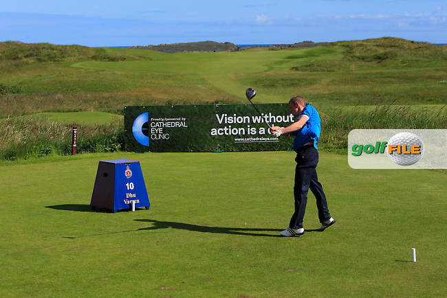 Dean Crawford (Moyola Park) on the 10th tee during Round 3 of Matchplay in the North of Ireland Amateur Open Championship at Portrush Golf Club, Portrush on Thursday 14th July 2016.<br /> Picture:  Thos Caffrey / www.golffile.ie