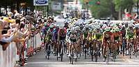 Racers in the finishing circuit in Macon, Ga. during Stage 1 of the 2006 Ford Tour de Georgia pro cycling race. Lars Michaelsen of Team CSC won 129-mile stage from Augusta to Macon in 4:45:46.