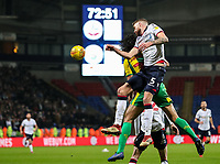 Bolton Wanderers' Mark Beevers competing with West Bromwich Albion's Ahmed Hegazy<br /> <br /> Photographer Andrew Kearns/CameraSport<br /> <br /> The EFL Sky Bet Championship - Bolton Wanderers v West Bromwich Albion - Monday 21st January 2019 - University of Bolton Stadium - Bolton<br /> <br /> World Copyright © 2019 CameraSport. All rights reserved. 43 Linden Ave. Countesthorpe. Leicester. England. LE8 5PG - Tel: +44 (0) 116 277 4147 - admin@camerasport.com - www.camerasport.com