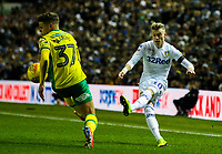 Leeds United's EzgjanAlioski crosses under pressure from Norwich City's Max Aarons<br /> <br /> Photographer Alex Dodd/CameraSport<br /> <br /> The EFL Sky Bet Championship - Leeds United v Norwich City - Saturday 2nd February 2019 - Elland Road - Leeds<br /> <br /> World Copyright © 2019 CameraSport. All rights reserved. 43 Linden Ave. Countesthorpe. Leicester. England. LE8 5PG - Tel: +44 (0) 116 277 4147 - admin@camerasport.com - www.camerasport.com