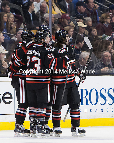 Northeastern celebrates, but it was ruled no goal. - The Boston College Eagles defeated the Northeastern University Huskies 4-1 (EN) on Monday, February 10, 2014, in the 2014 Beanpot Championship game at TD Garden in Boston, Massachusetts.