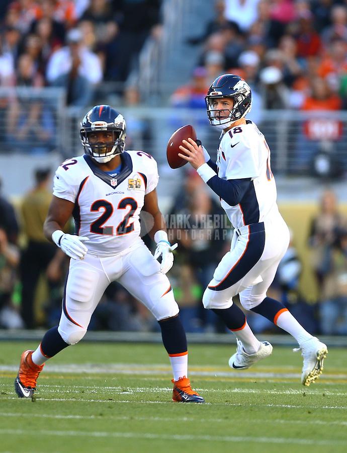 Feb 7, 2016; Santa Clara, CA, USA; Denver Broncos running back C.J. Anderson (22) blocks for quarterback Peyton Manning (18) against the Carolina Panthers in Super Bowl 50 at Levi's Stadium. Mandatory Credit: Mark J. Rebilas-USA TODAY Sports