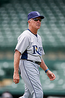 GCL Rays coach Jim Morrison (2) walks back to the dugout during a game against the GCL Orioles on July 21, 2017 at Ed Smith Stadium in Sarasota, Florida.  GCL Orioles defeated the GCL Rays 9-0.  (Mike Janes/Four Seam Images)