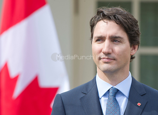 Prime Minister Justin Trudeau of Canada holds a joint press conference with United States President Barack Obama in the Rose Garden of the White House in Washington, DC on Thursday, March 10, 2016. <br /> Credit: Ron Sachs / CNP/MediaPunch