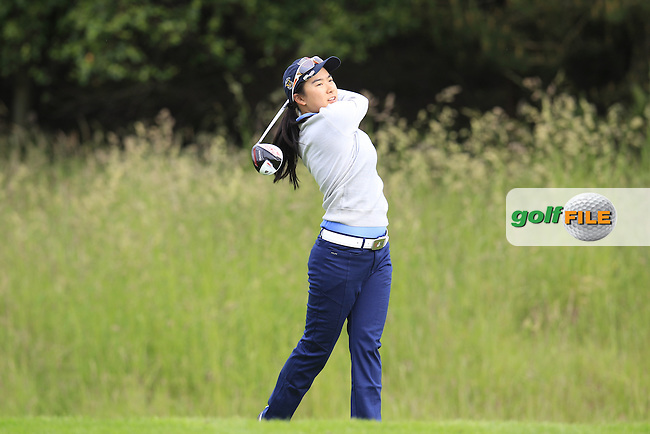 Mika Liu on the 3rd tee during the Friday morning foursomes at the 2016 Curtis cup from Dun Laoghaire Golf Club, Ballyman Rd, Enniskerry, Co. Wicklow, Ireland. 10/06/2016.<br /> Picture Fran Caffrey / Golffile.ie<br /> <br /> All photo usage must carry mandatory copyright credit (&copy; Golffile | Fran Caffrey)