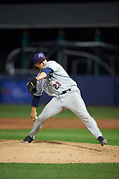 Mahoning Valley Scrappers relief pitcher James Karinchak (23) delivers a pitch during a game against the Williamsport Crosscutters on July 8, 2017 at BB&T Ballpark at Historic Bowman Field in Williamsport, Pennsylvania.  Williamsport defeated Mahoning Valley 6-1.  (Mike Janes/Four Seam Images)