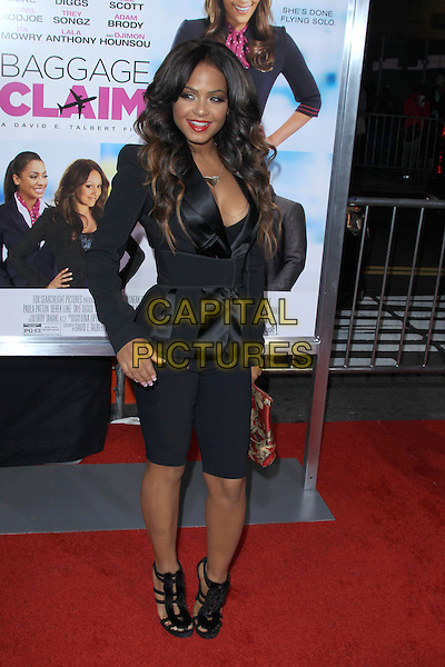 Christina Milian<br /> Premiere of &quot;Baggage Claim&quot; held at Regal Cinemas L.A. Live, Los Angeles, California, USA.<br /> September 25th, 2013<br /> full length black silk satin blazer red sandals cleavage gold clutch bag <br /> CAP/MPC/mpi21<br /> &copy;mpi21/MediaPunch/Capital Pictures