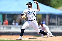 Asheville Tourists starting pitcher Alfredo Garcia (26) delivers a pitch during a game against the Lakewood BlueClaws at McCormick Field on June 16, 2019 in Asheville, North Carolina. The BlueClaws defeated the Tourists 6-5. (Tony Farlow/Four Seam Images)