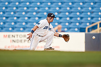 Lake County Captains second baseman Tyler Friis (7) stretches to receive a throw at first base during the first game of a doubleheader against the South Bend Cubs on May 16, 2018 at Classic Park in Eastlake, Ohio.  South Bend defeated Lake County 6-4 in twelve innings.  (Mike Janes/Four Seam Images)
