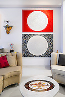 red and black wall artworks