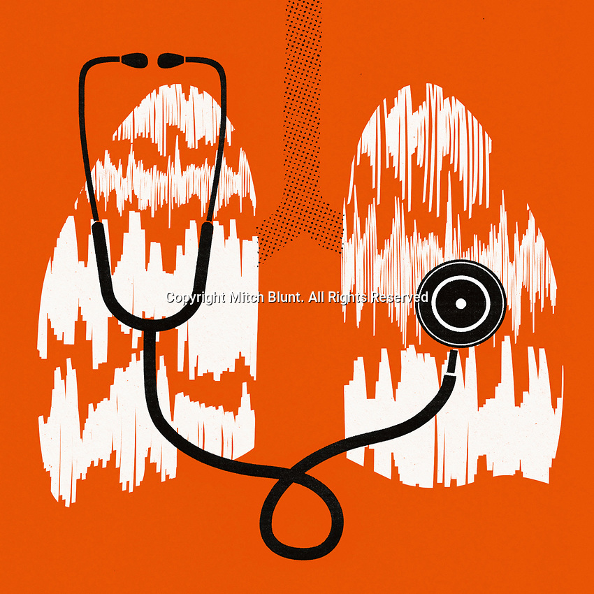 Stethoscope listening to sound waves from lungs ExclusiveImage