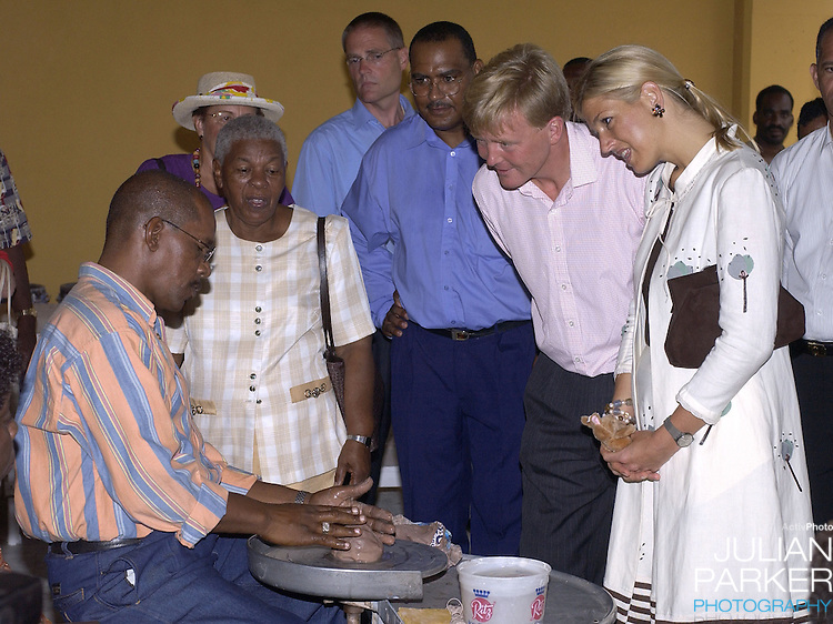 "Crown Prince Willem Alexander, and Crown Princess Maxima of Holland visit The Dutch Antilles..Visit the Island of Curacao..The Royal Couples program included,  a Cultural evening of Dance & Carnival in Brion Square, visit The Island Council, "" Sta Martha, a labour project for the physically & Mentally Handicapped, "" Fort Amsterdam "", The Marine Base, and a youth development project."