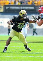 06 September 08: Colorado linebacker Brad Jones on a play against Eastern Washington. The Colorado Buffaloes defeated the Eastern Washington Eagles 31-24 at Folsom Field in Boulder, Colorado. FOR EDITORIAL USE ONLY