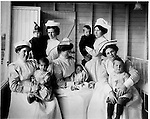 Nurses care for child tuberculosis patients at the Queen Mary Hospital for Tuberculous Children, circa 1917; TB often struck in epidemic waves, the main treatment was rest, nutritious food and fresh air, with patients confined at isolated sanatorium or sanitarium, often for a year or more
