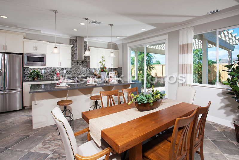 White and Grey Kitchen and Dining Room