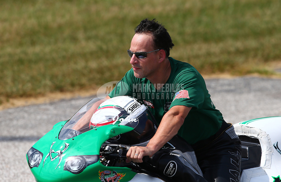 Aug. 31, 2013; Clermont, IN, USA: NHRA pro stock motorcycle rider John Hall during qualifying for the US Nationals at Lucas Oil Raceway. Mandatory Credit: Mark J. Rebilas-