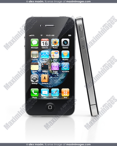 Two Apple iPhone 4 smartphones one leaning against another isolated on white background. High quality photo.