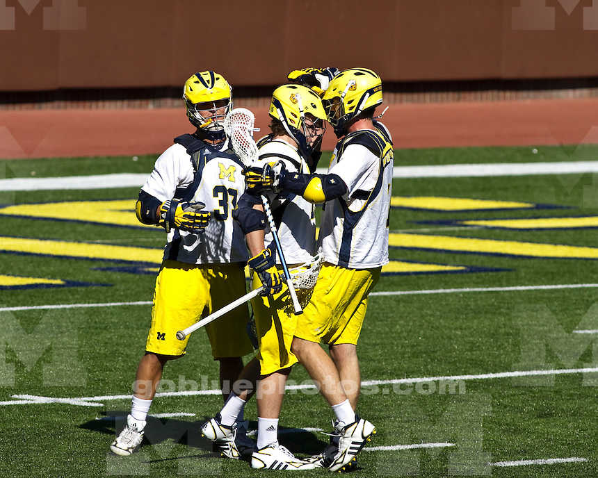 The University of Michigan men's lacrosse team lost to  Providence 11-10 (OT) in exhibition at Michigan Stadium in Ann Arbor, Mich., on October 2, 2011.