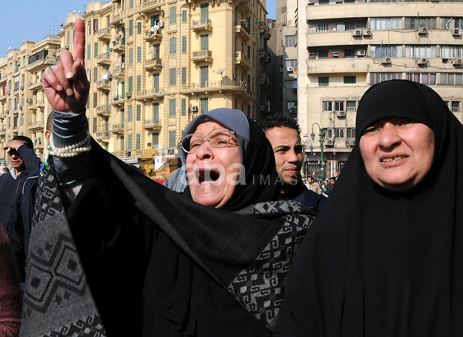 Egyptian protesters attend a demonstration in Tahrir Square, in Cairo, Egypt, Friday, Dec. 2, 2011. Islamists appear to have taken a strong majority of seats in the first round of Egypt's first parliamentary vote since Hosni Mubarak's ouster, a trend that if confirmed would give religious parties a popular mandate in the struggle to win control from the ruling military and ultimately reshape a key U.S. ally. Photo by Ahmed Asad