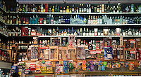 Grand Central, Public Market, Los Angeles CA, Liquor Store, Shelves, Stacked Panorama High dynamic range imaging (HDRI or HDR)