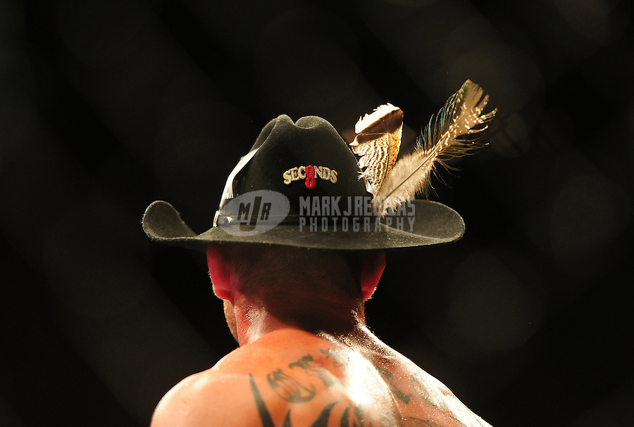 Dec 30, 2011; Las Vegas, NV, USA; Detailed view of the cowboy hat worn by UFC fighter Donald Cerrone following a lightweight bout at UFC 141 at the MGM Grand Garden event center. Mandatory Credit: Mark J. Rebilas-