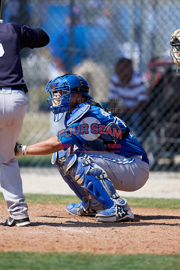 Toronto Blue Jays catcher Andres Sotillo (70) during a Minor League Spring Training game against the New York Yankees on March 18, 2018 at Englebert Complex in Dunedin, Florida.  (Mike Janes/Four Seam Images)