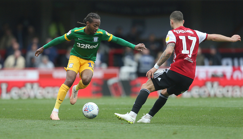 Preston North End's Daniel Johnson and Brentford's Emiliano Marcondes<br /> <br /> Photographer Rob Newell/CameraSport<br /> <br /> The EFL Sky Bet Championship - Brentford v Preston North End - Sunday 5th May 2019 - Griffin Park - Brentford<br /> <br /> World Copyright © 2019 CameraSport. All rights reserved. 43 Linden Ave. Countesthorpe. Leicester. England. LE8 5PG - Tel: +44 (0) 116 277 4147 - admin@camerasport.com - www.camerasport.com