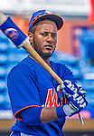 23 February 2013: New York Mets' outfielder Jordany Valdespin awaits his turn in the batting cage prior to opening the Grapefruit League Season with a Spring Training Game against the Washington Nationals at Tradition Field in Port St. Lucie, Florida. The Mets defeated the Nationals 5-3. Mandatory Credit: Ed Wolfstein Photo *** RAW (NEF) Image File Available ***