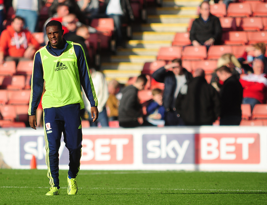Middlesbrough's Mustapha Carayol<br /> <br /> Photo by Chris Vaughan/CameraSport<br /> <br /> Football - The Football League Sky Bet Championship - Barnsley v Middlesbrough - Saturday 19th October 2013 - Oakwell Stadium - Barnsley<br /> <br /> &copy; CameraSport - 43 Linden Ave. Countesthorpe. Leicester. England. LE8 5PG - Tel: +44 (0) 116 277 4147 - admin@camerasport.com - www.camerasport.com