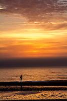 Sunrise on the beach of the Atlantic Ocean at Jekyll Island Georgia.