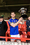 Kerry iCaptain Killian Young raises the McGrath cup after Kerry Defeated Limerick at the Gaelic Grounds on Sunday.