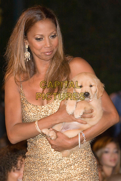 "HOLLY ROBINSON PEETE & BARRY BONDS' NEW PUPPY.Hollyrod's Designcure Celebrates It's ""Lucky Seven"" with Performances & and Featuring Fashion Show held at the home of Sugar Ray Leonard, Pacific Palisades, California..July 9th, 2005.Photo Credit: Zach Lipp/AdMedia.half length animal pet dog .www.capitalpictures.com.sales@capitalpictures.com.© Capital Pictures."