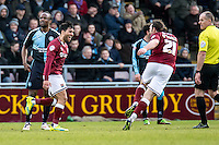 Danny Rose of Northampton Town scores the winner and celebrates with John-Joe O'Toole of Northampton Town during the Sky Bet League 2 match between Northampton Town and Wycombe Wanderers at Sixfields Stadium, Northampton, England on the 20th February 2016. Photo by Liam McAvoy.
