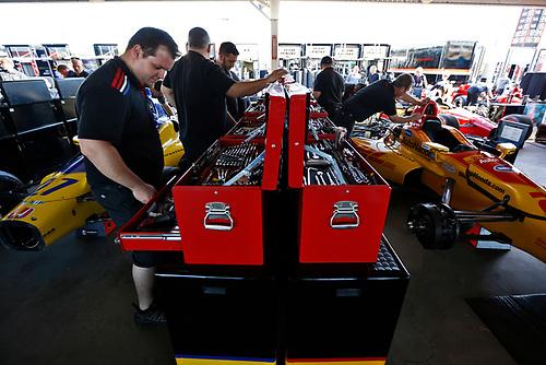 26-27 February, 2016, Avondale, Arizona USA<br /> Andretti crewmen at work on the cars of Marco Andretti and Ryan Hunter-Reay<br /> ©2016, Phillip Abbott<br /> LAT Photo USA