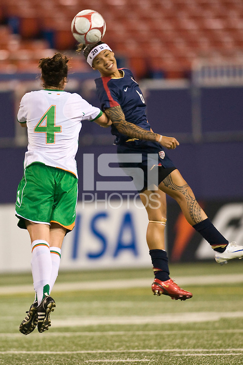 United States (USA) forward Natasha Kai (6) and Republic of Ireland (IRL) defender Niamh Fahey (4). The women's national team of the United States (USA) defeated the Republic of Ireland (IRL) 1-0 during an international friendly at Giants Stadium in East Rutherford, NJ on September 17, 2008. Photo by Howard C. Smith/isiphotos.com