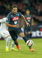 Gonzalo Higuain   in action during the Italian Serie A soccer match between SSC Napoli and Verona  at San Paolo stadium in Naples, October 26, 2014