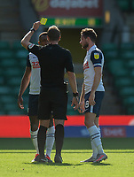 Preston North End's Darnell Fisher (left) is shown a yellow card by referee John Brooks<br /> <br /> Photographer David Horton/CameraSport<br /> <br /> The EFL Sky Bet Championship - Norwich City v Preston North End - Saturday 19th September 2020 - Carrow Road - Norwich<br /> <br /> World Copyright © 2020 CameraSport. All rights reserved. 43 Linden Ave. Countesthorpe. Leicester. England. LE8 5PG - Tel: +44 (0) 116 277 4147 - admin@camerasport.com - www.camerasport.com