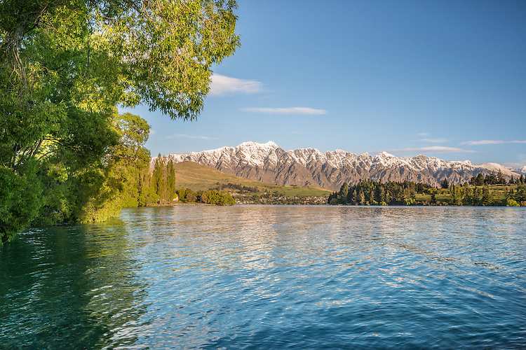 View across Lake Wakatipu, The Remarkables, Queenstown on a lovely spring evening. New Zealand - stock photo, canvas, fine art print