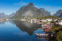 Reflection of Olstind mountain peak in Reine harbor, Moskenesøy, Lofoten Islands, Norway