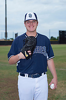 Starting pitcher Ryan Weathers (40), selected by the San Diego Padres in the first round of the 2018 MLB Draft, poses for a photo before an Arizona League game against the AZL Padres 1 at Peoria Sports Complex on July 14, 2018 in Peoria, Arizona. The AZL Padres 1 defeated the AZL Padres 2 4-0. (Zachary Lucy/Four Seam Images)