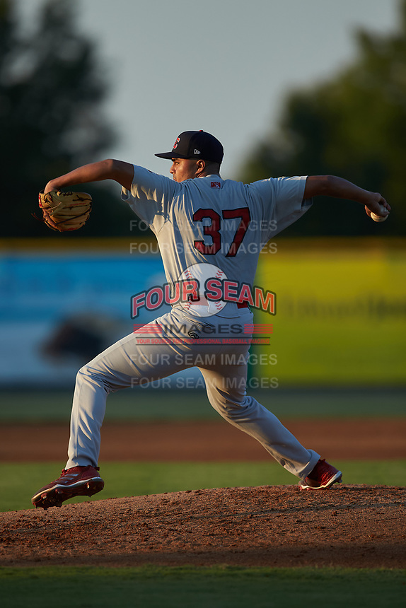 Johnson City Cardinals starting pitcher Hector Soto (37) in action against the Burlington Royals at Burlington Athletic Stadium on September 3, 2019 in Burlington, North Carolina. The Cardinals defeated the Royals 7-2 to even Appalachian League Championship series at one game a piece. (Brian Westerholt/Four Seam Images)