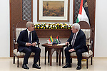 Palestinian President Mahmoud Abbas meets with Chairman of the Lithuanian Parliament in the West Bank city of Ramallah on October 15, 2018. Photo by Thaer Ganaim