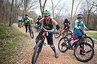NWA Democrat-Gazette/CHARLIE KAIJO Becci Neal of Bentonville (center) leads a group of all-women bike riders, Friday, March 23, 2018 that started at the Record and ended at Slaughter Pen Trail in Bentonville. <br /><br />The International Mountain Biking Association held an event called Uprising to try and increase female participation in mountain biking. The group did a trail ride at Slaughter Pen leaving from the Record
