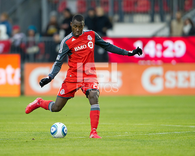 16 April 2011: Toronto FC midfielder Tony Tchani #22 in action during an MLS game between D.C. United and the Toronto FC at BMO Field in Toronto, Ontario Canada..D.C. United won 3-0.