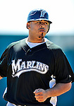 8 March 2010: Florida Marlins' catcher Ronny Paulino warms up prior to a Spring Training game against the Washington Nationals at Space Coast Stadium in Viera, Florida. The Marlins defeated the Nationals 12-2 in Grapefruit League action. Mandatory Credit: Ed Wolfstein Photo