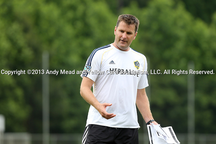 28 May 2013: Assistant coach Curt Onalfo leads practice. The Los Angeles Galaxy held a training session on Field 3 at WakeMed Soccer Park in Cary, NC the day before playing in a 2013 Lamar Hunt U.S. Open Cup third round game.