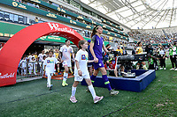 9th November 2019; Bankwest Stadium, Parramatta, New South Wales, Australia; International Womens Friendly Football, Australia versus Chile; Christiane Endler of Chile and Sam Kerr of Australia leads their teams onto the pitch before kick off - Editorial Use