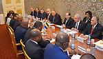 Egyptian President Abdel Fattah al-Sisi meets with Gabon's President Ali Bongo in Libreville on August 16, 2017. Photo by Egyptian President Office