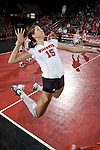 MADISON, WI - NOVEMBER 18: Audra Jeffers #15 of the Wisconsin Badgers volleyball team during warm-ups prior to the game against the Michigan Wolverines at the Fieldhouse on November 18, 2005 in Madison, Wisconsin. The Badgers beat the Wolverines 3-0. Photo by David Stluka.